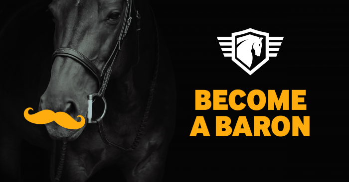 Horse with a Baron moustache. Become a Baron and sign up